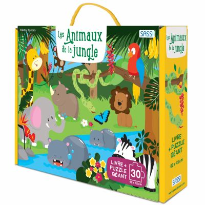 Livre + puzzle géant Les animaux de la jungle (30 pièces) Sassi Junior