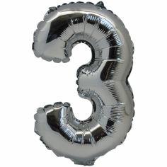 Petit ballon en mylar chiffre 3 argenté (36 cm)