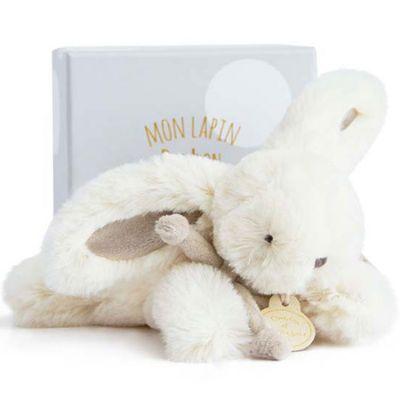 Coffret peluche lapin beige Bonbon (16 cm)  par Doudou et Compagnie
