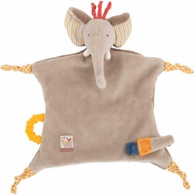 Doudou attache sucette éléphant Les Papoum  par Moulin Roty