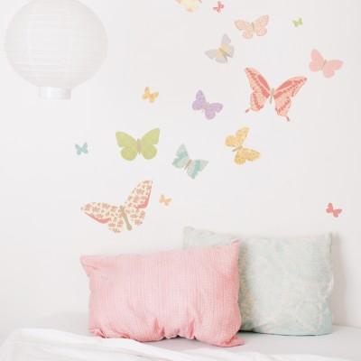Sticker papillon fleuris butterflies petit mod le par - Modele papillon ...