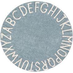 Tapis lavable rond ABC vintage bleu (150 cm)