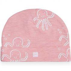 Bonnet en coton Octopus pieuvre rose (6-12 mois)