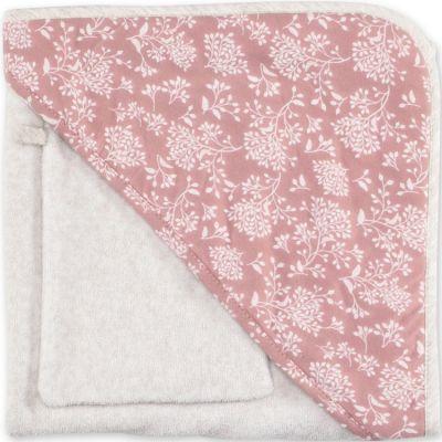 Cape de bain + gant rose à fleurs Idyle (90 x 90 cm)