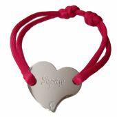 Bracelet cordon coeur 17 mm (argent 925°) - Loupidou