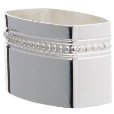 Rond de serviette Lien Perles personnalisable (métal argenté) dans son coffret