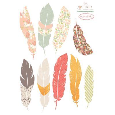 Planche de stickers Plume Floating feathers (43 x 25,5 cm)