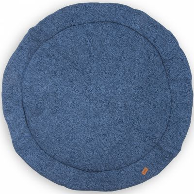 tapis de jeu rond stonewashed knit bleu 110 cm jollein. Black Bedroom Furniture Sets. Home Design Ideas