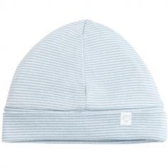 Bonnet en coton et bambou bleu clair (0-3 mois)
