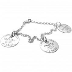 Bracelet avec 3 médaillons de naissance (argent 925° rhodié)