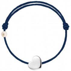 Bracelet cordon Coeur et perle bleu marine (or blanc 750°)
