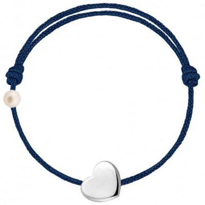 Bracelet cordon Coeur et perle bleu marine (or blanc 750°)  par Claverin