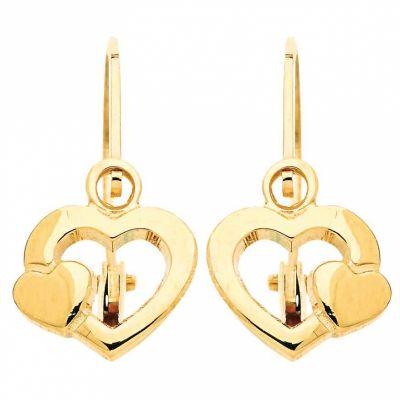 Boucles d'oreilles brisures Coeur (or jaune 750°)  par Berceau magique bijoux