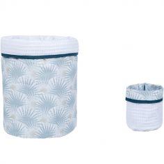 Lot de 2 paniers de toilette Palmier céladon (20 x 20 cm)