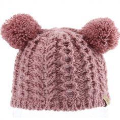 Bonnet en tricot 2 pompons vieux rose (12-18 mois)