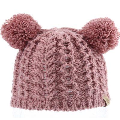 Bonnet en tricot 2 pompons vieux rose (12-18 mois)  par Bedford Road