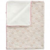 Couverture pour bébé oiseau rose et beige en coton bio (80 x 100 cm) - Fresk
