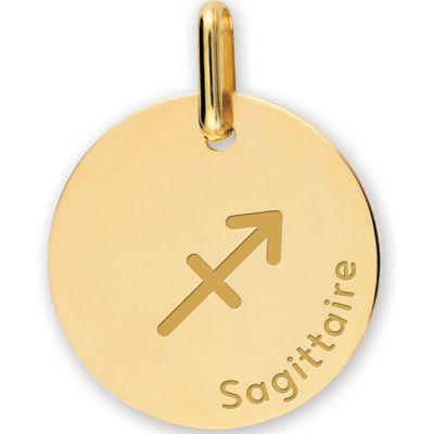 Médaille zodiaque Sagittaire personnalisable (or jaune 750°)  par Lucas Lucor