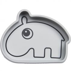 Bol antidérapant silicone Ozzo hippopotame gris