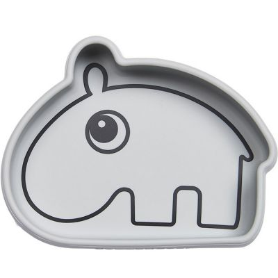 Bol antidérapant silicone Ozzo hippopotame gris  par Done by Deer