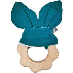 Anneau de dentition en bois bleu paon