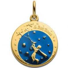 Médaille Le Petit Prince et les oiseaux en couleur 18 mm (or jaune 750°)