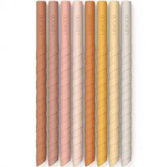 Lot de 8 pailles réutilisables en silicone Zoe rose multi mix