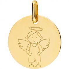 Médaille Ange garçon personnalisable (or jaune 750°)