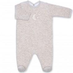 Pyjama léger terry Bmini beige à points jerry (0-3 mois : 50 à 60 cm)
