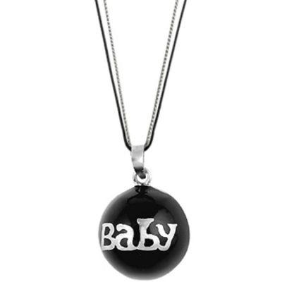 Bola sur cordon Baby Color noir (argent 925°)  par Nativee