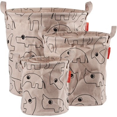 Lot de 3 sacs à jouets Contour rose  par Done by Deer