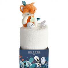 Couverture bébé en polaire avec doudou renard (100 x 70 cm)