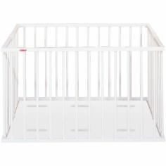 Parc bébé pliable en bois massif laqué blanc (92 x 98 cm) - Combelle