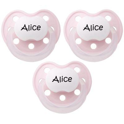 Lot de 3 sucettes personnalisables anatomiques Deluxe rose en latex (3-36 mois)  par Baby Tute