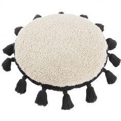 Coussin rond à pompons Circle noir (48 cm)