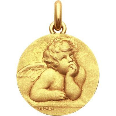 Médaille Ange Raphaël (or jaune 750°)  par Becker