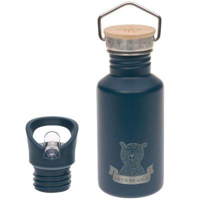 Gourde en inox bleue ours Adventure (500 ml)  par Lässig
