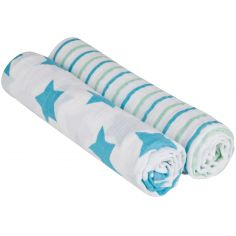 Lot de 2 Maxis langes en mousseline Stars & Stripes bleus (120 x 120 cm)