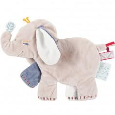 Doudou plat platso Bao l'éléphant (33 cm)