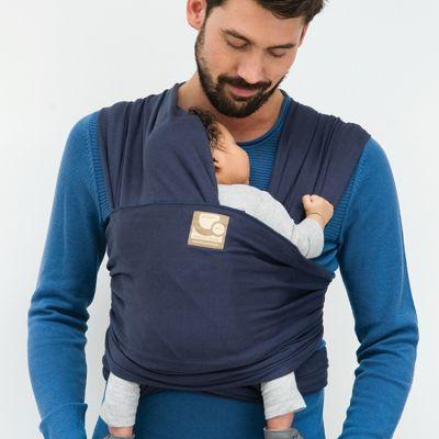 Echarpe de portage Tricot-Slen coton bio bleu jean  par Babylonia carriers