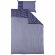 parure de lit housse de couette et taie d oreiller bleu marine toile et rayure 100 x 135 cm. Black Bedroom Furniture Sets. Home Design Ideas