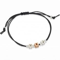 Bracelet cordon noir 1 cube garçon 2 cubes coeur (or rose 375° et argent 925°)