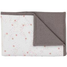 Couverture en coton réversible Etoiles rose (100 x 70 cm)