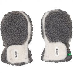 Moufles gris et écru Teddy (6-12 mois)