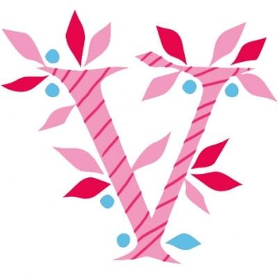 Lettre adhésive V My ABC pink by Anne Cresci  par Lilipinso