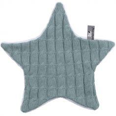 Doudou plat étoile vert d'eau Cable