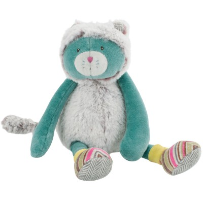 Peluche bleue Chat Les Pachats (23 cm) Moulin Roty