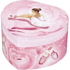 Boîte à bijoux musicale phosphorescente coeur Ballerine rose
