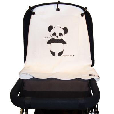 Protection pour poussette Baby Peace coton bio Panda noir et blanc  par Kurtis