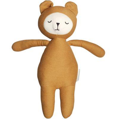 Peluche en coton bio ours ocre Buddy (28 cm)  par Fabelab